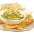 Plate of nacho chips and guacamole