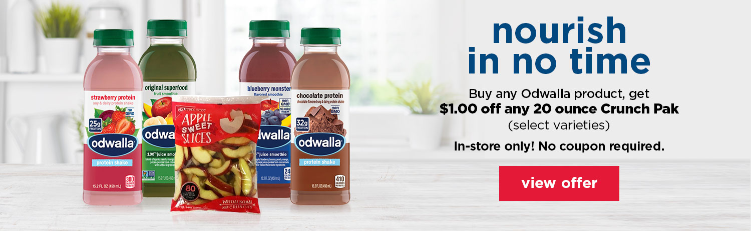 Nourish in no time. Purchase any Odwalla product, get $1.00 off any 20 ounce Crunch Pak (select varieties) in-store only! No Coupon required.