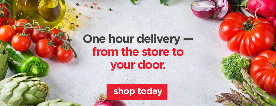 One hour delivery - from the store to your door.