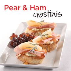 pear and ham crostinis