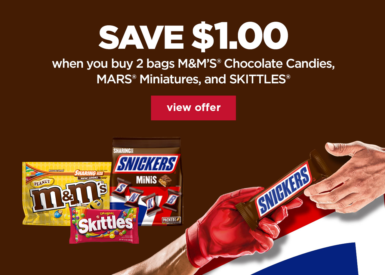 Save $1.00 when you buy 2 bags of M&Ms Chocolate Candies, MARS Miniatures, and SKITTLES