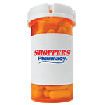 Pill Bottle with Shoppers Logo on label