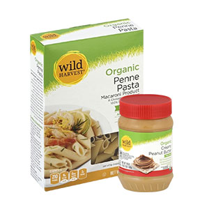 Box of gluten free Penne and organic Peanut Butter